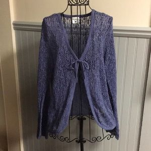 Columbia Periwinkle Tie Front Open Knit Cardigan